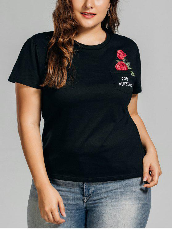 womens Plus Size Rose Embroidered T-Shirt with Pocket - BLACK 3XL