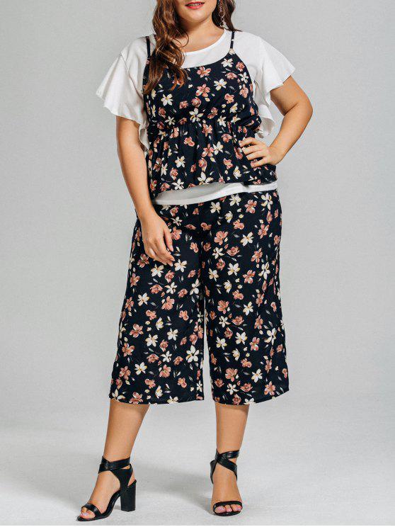 fancy Ruffles Chiffon Blouse and Floral Capri Pants with Ruffles Cami Tank Top - FLORAL XL