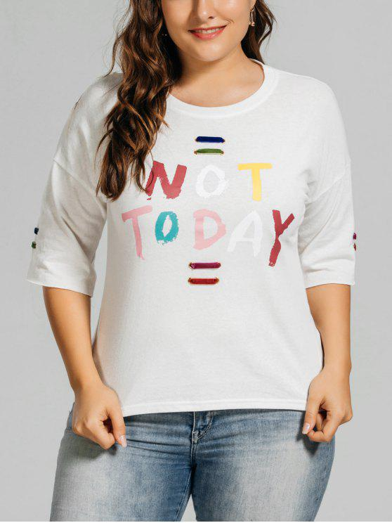 lady Metal Rings Plus Size Letter T-Shirt - WHITE 4XL