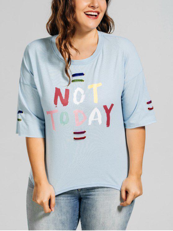 hot Metal Rings Plus Size Letter T-Shirt - LIGHT BLUE XL