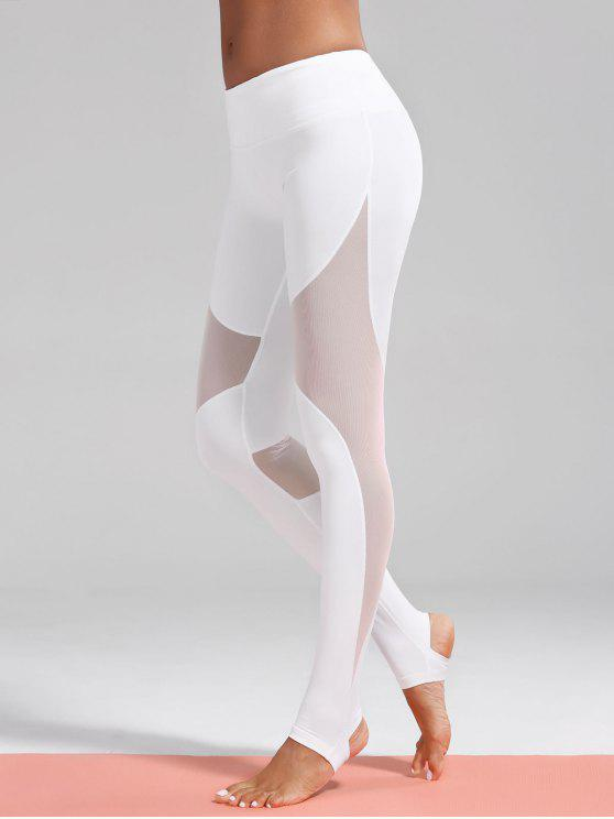 women Mesh Insert Stirrup Sporty Leggings - WHITE L