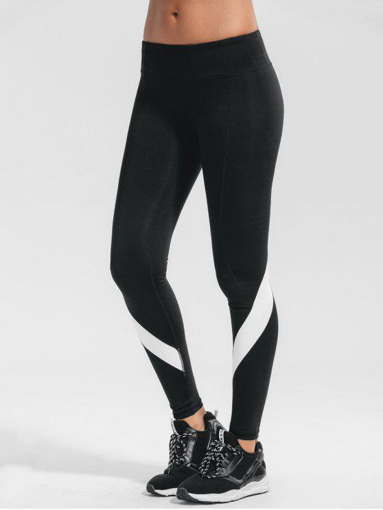 Pantalons de sport yoga élastique color block - Noir L