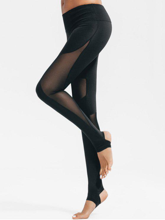 556244e8b3504 21% OFF] 2019 Active Mesh Insert Stirrup Leggings In BLACK | ZAFUL