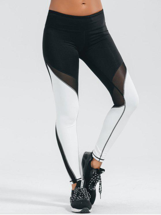 sale Active Color Block Stretchy Leggings - WHITE AND BLACK M