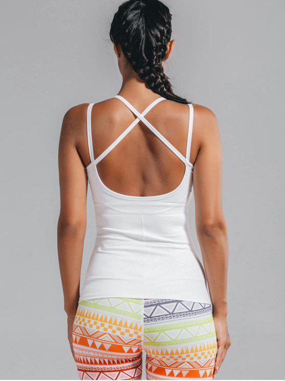 best Cami Padded Cross Back Sporty Top - WHITE L