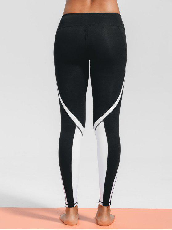 best Stretchy Two Tone Sporty Leggings - BLACK S