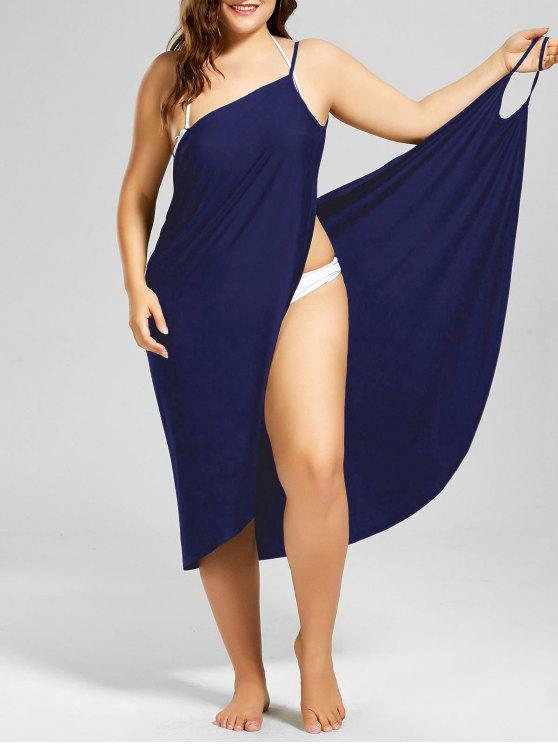 trendy Plus Size Beach Cover-up Wrap Dress - PURPLISH BLUE XL