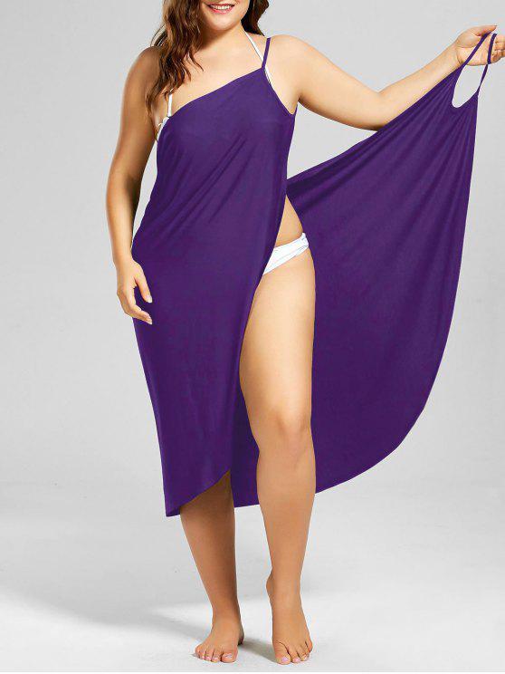 shop Plus Size Beach Cover-up Wrap Dress - PURPLE 3XL