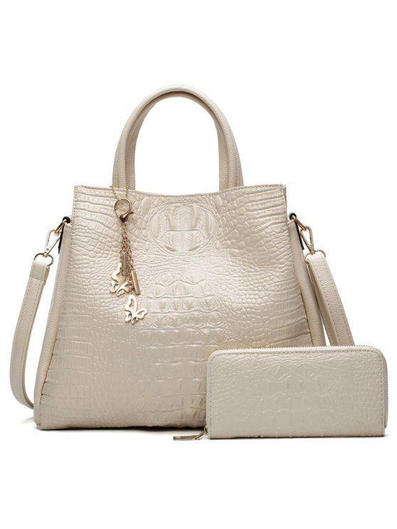 حقيبة يد بنقشة جلد التمساح مع محفظة - أبيض