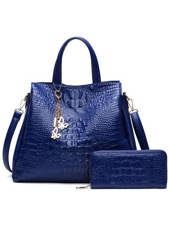 b74e1dd2f88b Crocodile Embossed Handbag And Wallet BLUE  Shoulder Bags