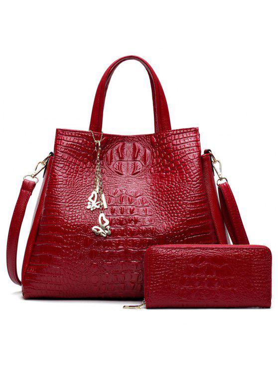 حقيبة يد بنقشة جلد التمساح مع محفظة - أحمر
