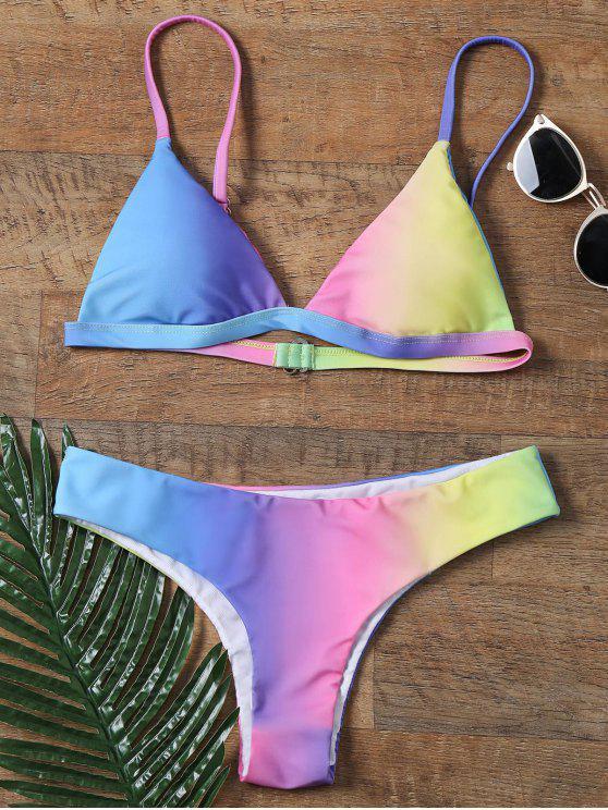women's Colorful Spaghetti Strap Ombre Skimpy Bikini - COLORMIX S