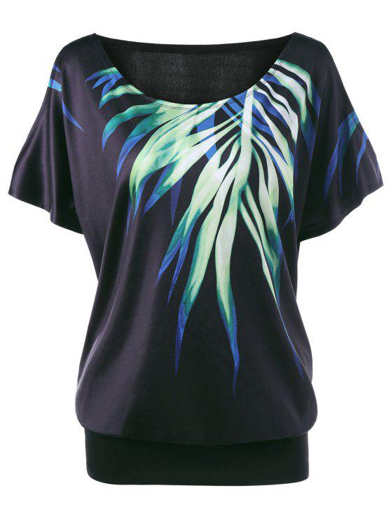 women Plus Size Leaf Printed Cold Shoulder T-shirt - BLACK 2XL