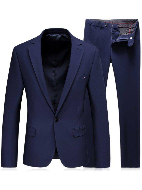 طية صدر السترة زر واحد سليم صالح السترة والسراويل توينسيت - أزرق XL
