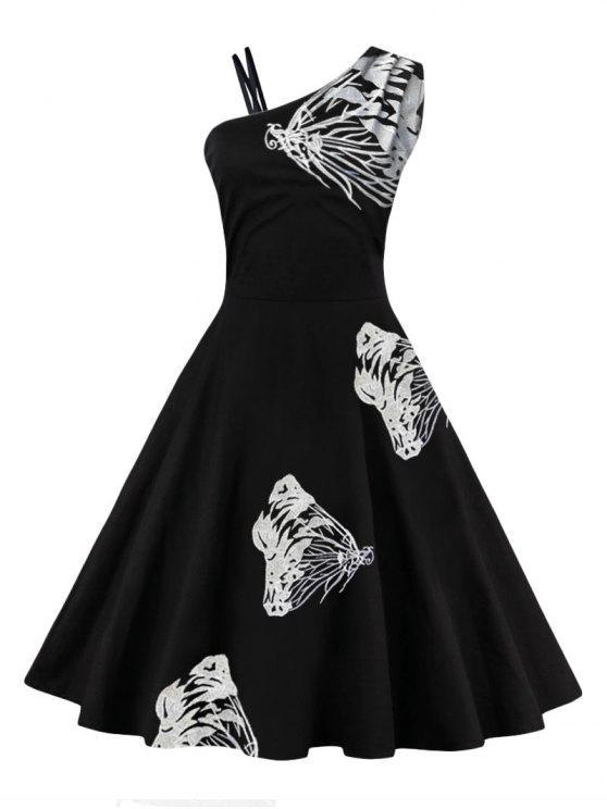 Schmetterling Besticktes Eine Schulter Flare Kleid - Weiß S