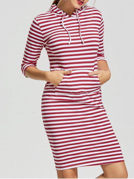37d482723f 30% OFF  2019 Kangaroo Pocket Striped Hoodie Dress In RED STRIPE L ...