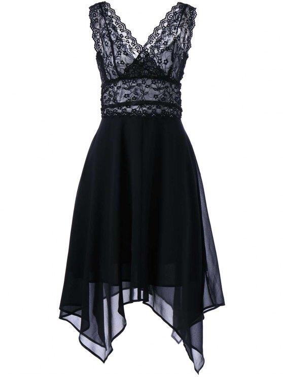 فستان سهرة شيفون دانتيل بلا أكمام - أسود L