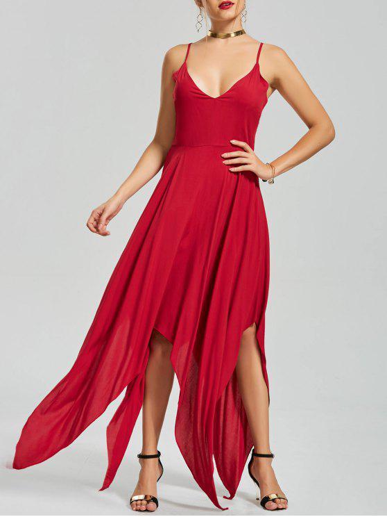 فستان منديل غير متماثل متقاطع الظهر مثير - أحمر S