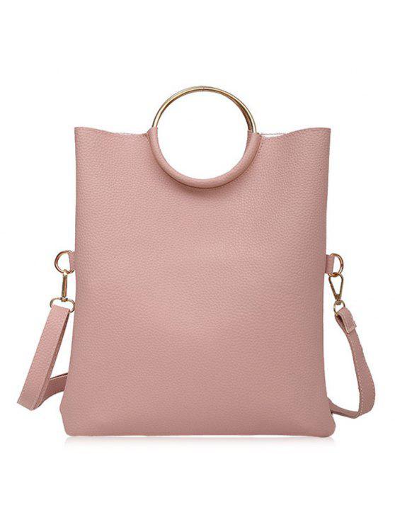 حقيبة توتي بحلقتين معدنيتين - زهري