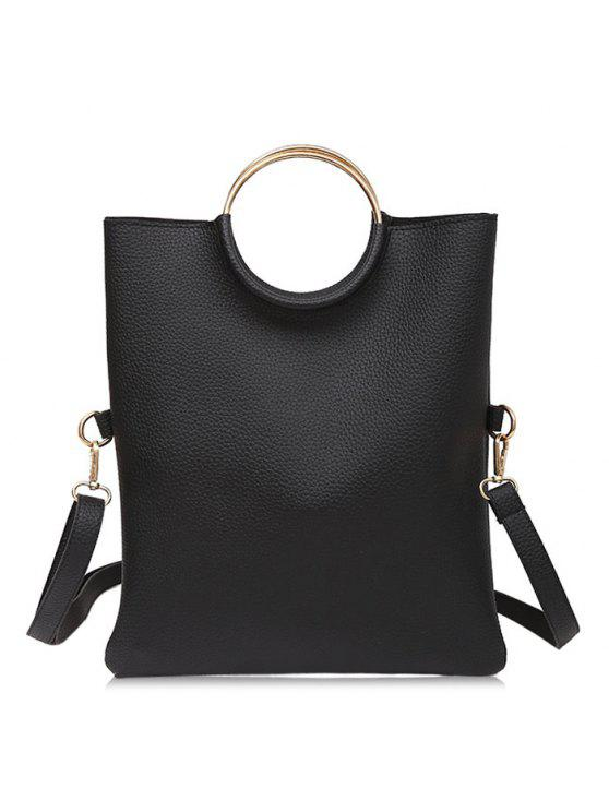حقيبة توتي بحلقتين معدنيتين - أسود