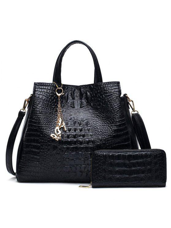 التمساح تنقش حقيبة يد والمحفظة - أسود