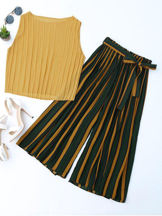 hot Pleated Top with Color Block Striped Gaucho Pants - YELLOW ONE SIZE