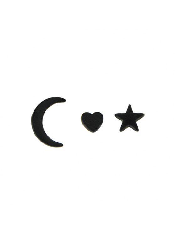 القمر ستار القلب صغيرة القرط استيلاد مجموعة - أسود