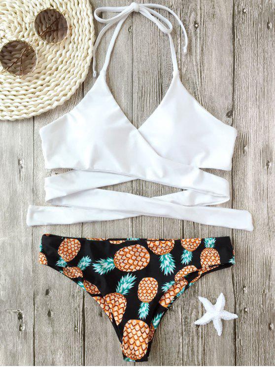 Bikini Enveloppant Imprimé Ananas à Col Halter - Blanc S
