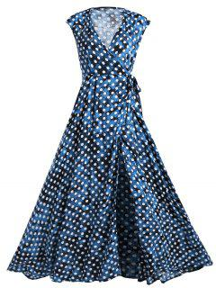 Wrap Polka Dot Maxi Cover Up Dress - Blue L