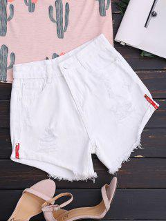 High Waisted Curled Hem Ripped Denim Shorts - White L