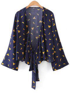 Banane Graphic Polka Dot Wrap Bluse - Schwarzblau L