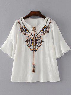 Geometric Embroidered Tassels Blouse - White M