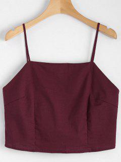 Cut Out Bowknot Cropped Tank Top - Wine Red S