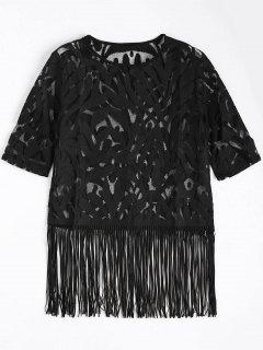 Fringe Sheer Lace Top - Black S