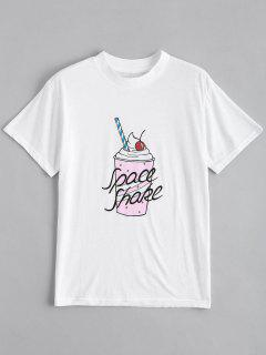 Cute Cotton Beverage Graphic T-Shirt - White