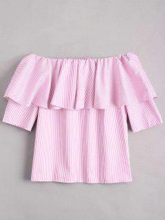 Schulterfreie Bluse Mit Rüschen Saum Und Streifenmuster - Pink S