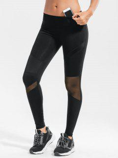Stretchy Sheer Mesh Panel Active Pants - Black L