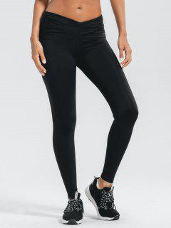 Stretchy Cross Waist Ruched Active Pants - Black L
