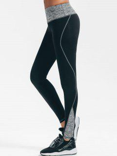 Leggings Estirados De La Yoga De Heathered - Negro M
