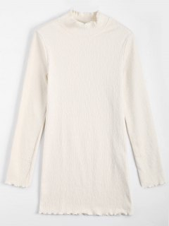 Knitted Long Sleeve Ruffles Mini Dress - Off-white M
