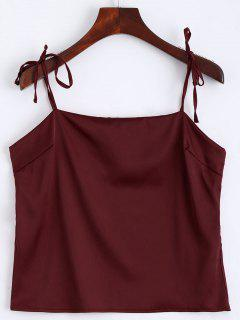 Cami Tied Straps Satin Tank Top - Wine Red S