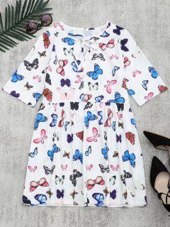 Butterfly Print Bowtie Dress - White M