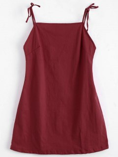 Tied Straps Backless Mini Dress - Red M
