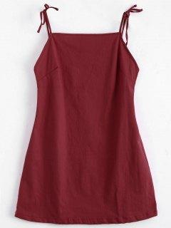 Robe Mini Dos Nu à Bretelle Nouée - Rouge S