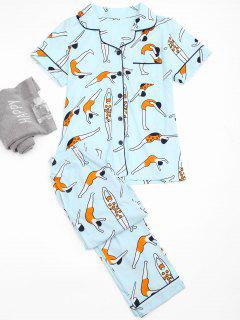 Cute Swim Posture Print Shirt With Pants Loungewear - Light Blue M