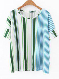 Loose Striped Poplin Top - Stripe S