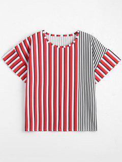 Satin Striped Oversized Top - Streifen  S