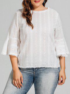Blouse Droite De Grande Taille Avec Des Empiècements En Crochet - Blanc Xl