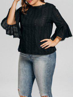 Plus Size Crochet Panel Sheer Blouse - Black Xl