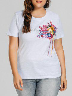 Plus Size Letter Embroidered Patched T-Shirt - White 3xl